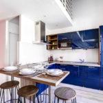 синий кухонный гарнитур варианты идеи