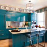 синий кухонный гарнитур фото виды