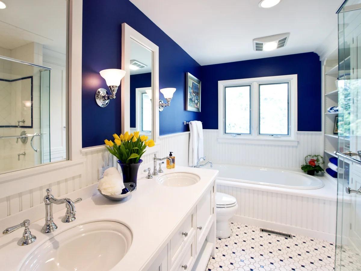 синяя краска для стен в ванной