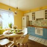 совмещение плитки и ламината на кухне фото декора