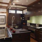 стильный интерьер кухни венге
