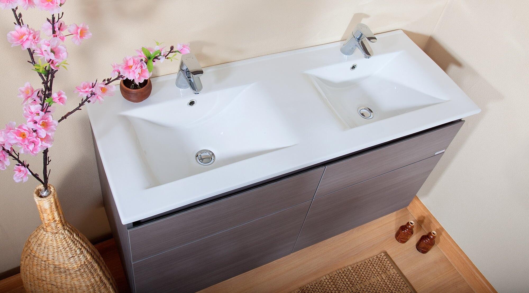 раковина с тумбой в ванную двойная
