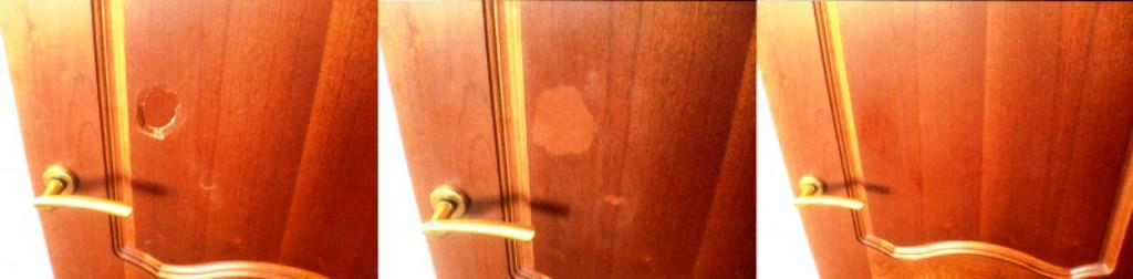 заделать дыру в двери