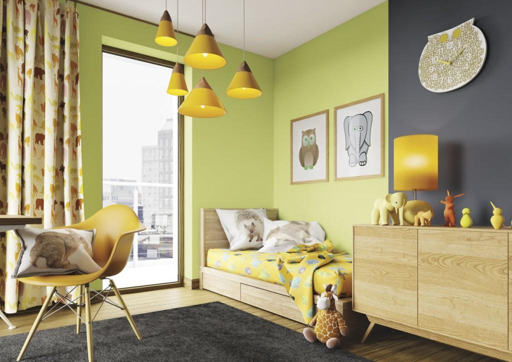 зеленая краска в комнате