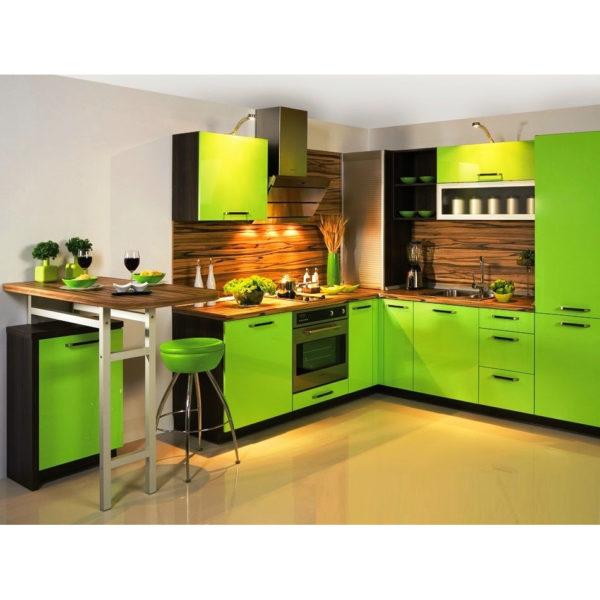 Если вы хотите всегда ощущать дыхание ранней весны и свежесть весеннего дня, используйте мебель или кухонный гарнитур зеленого цвета.