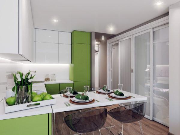 Вариант оформления бело-зеленой кухни