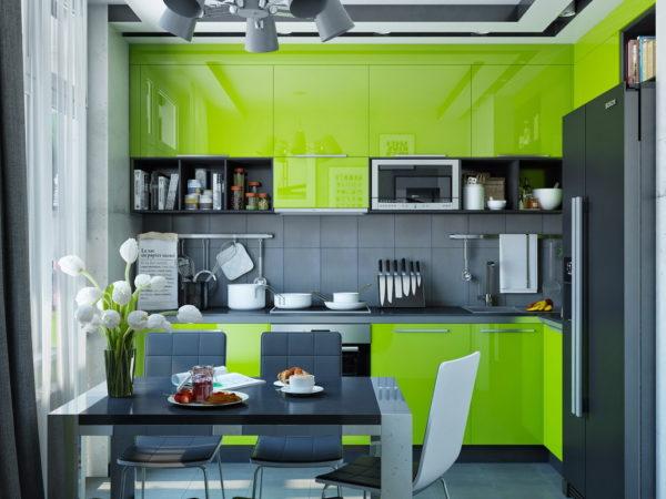 Дизайн кухни с зеленым гарнитуром – это отличная идея.