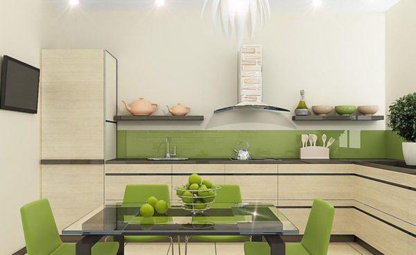 Используйте мебель или кухонный гарнитур зеленый – именно он создаст «весеннее» настроение