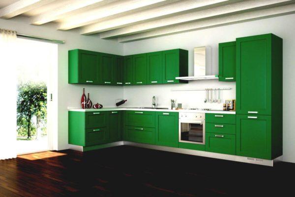 Если кухонный гарнитур зеленого оттенка и при этом какими должны быть пол и стены.