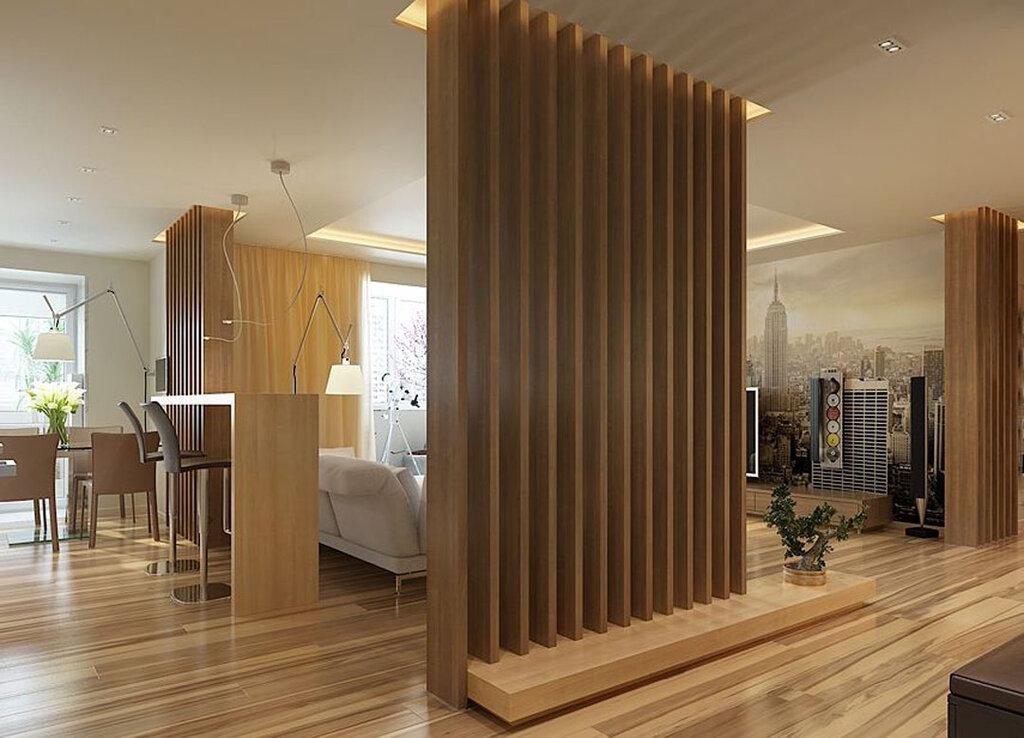 зонирование комнат деревянной перегородкой фото