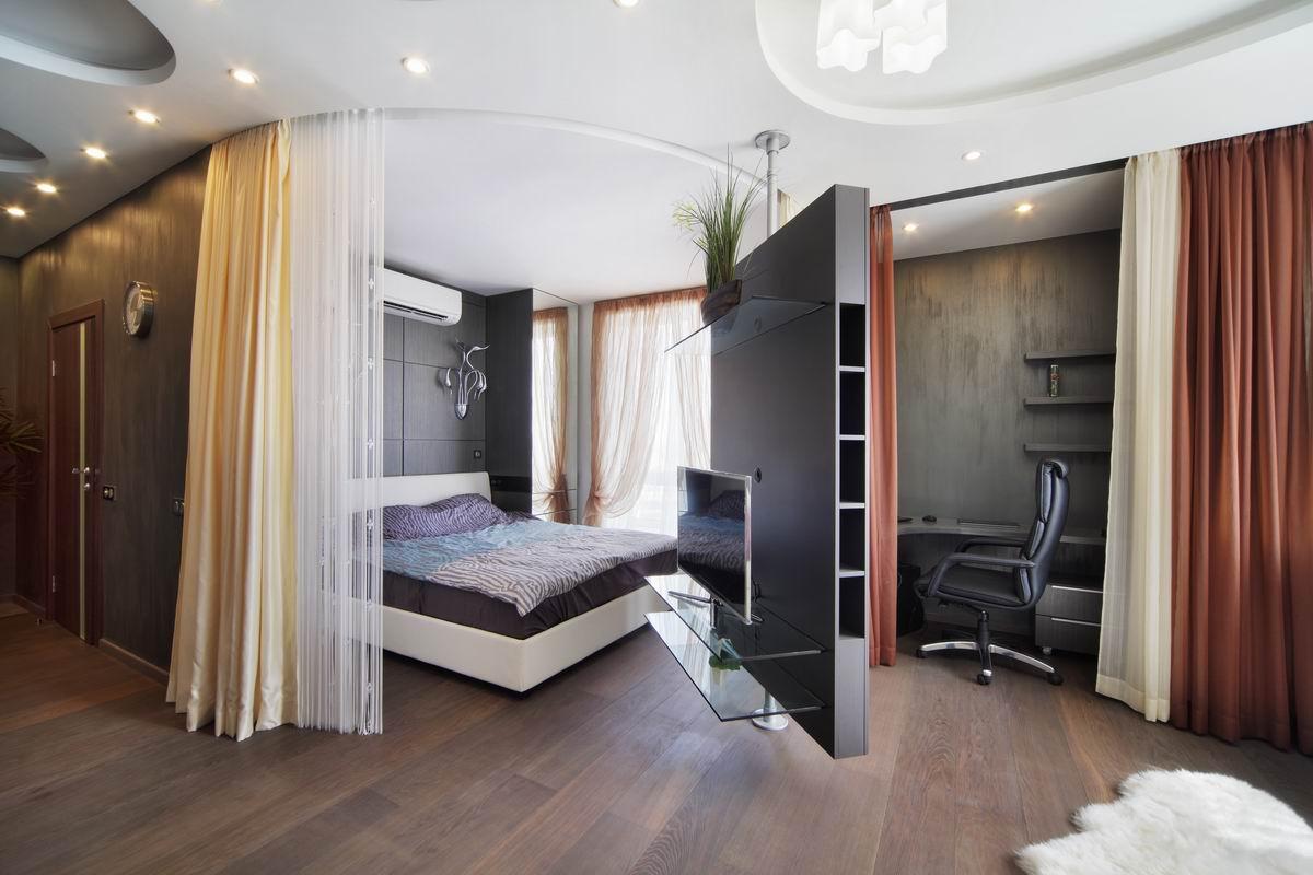 зонирование комнаты на спальню и гостиную фото