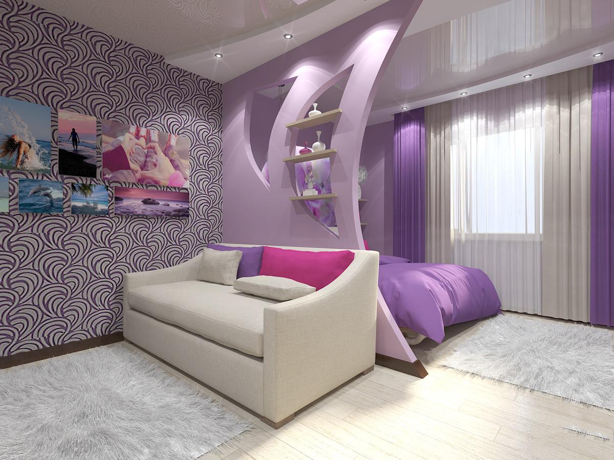 зонирование комнаты перегородка из гипсокартона