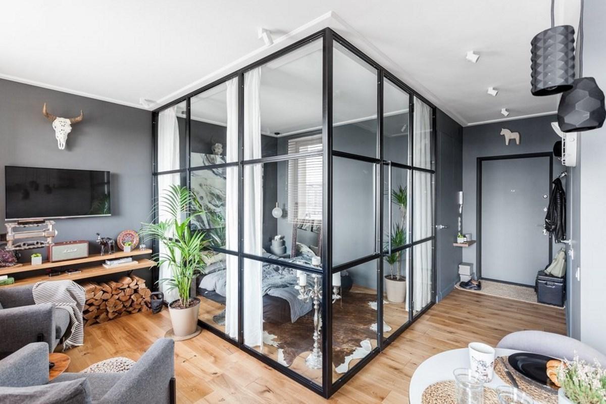 зонирование комнаты стеклянные лофт перегородки