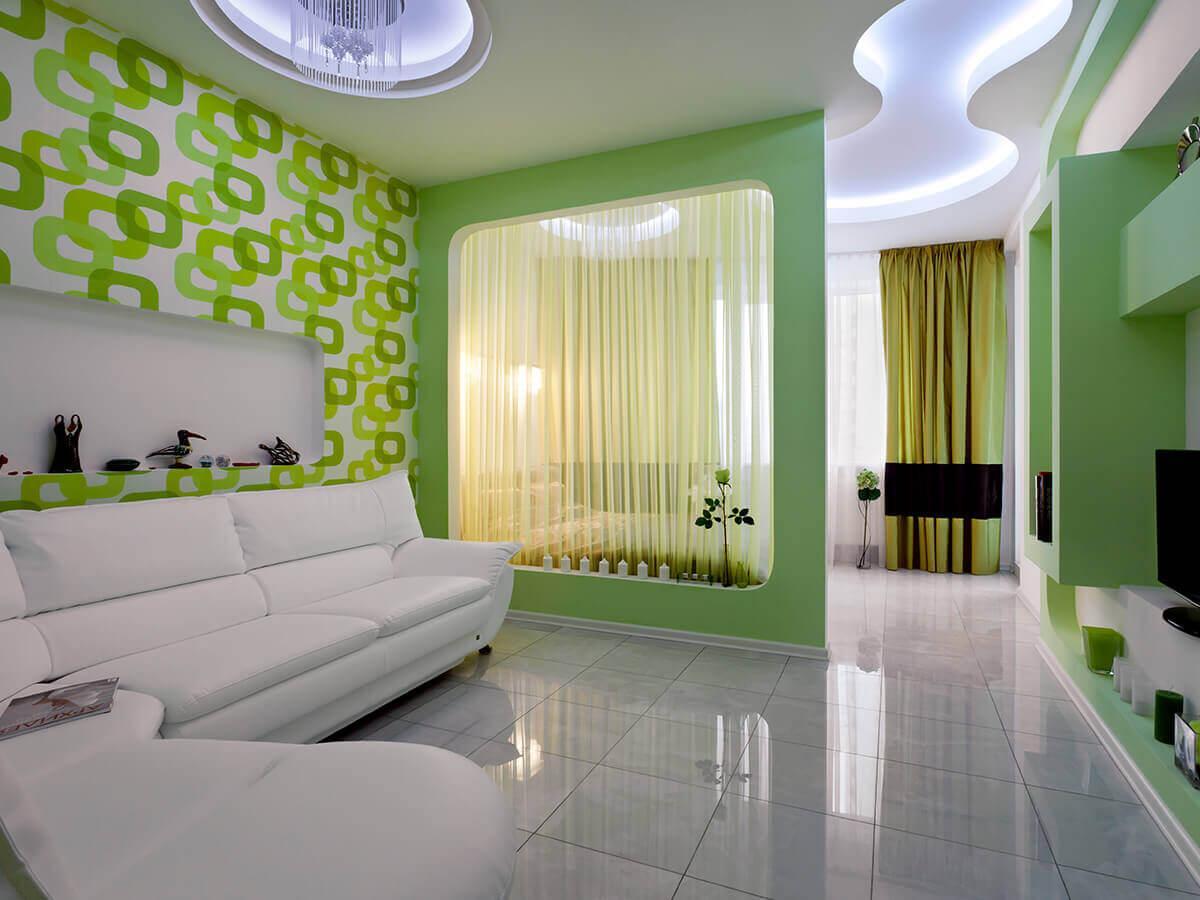 зонирование комнаты тканевыми перегородками