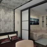 зонирование однокомнатной квартиры идеи интерьер