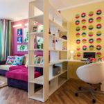 зонирование однокомнатной квартиры фото оформление