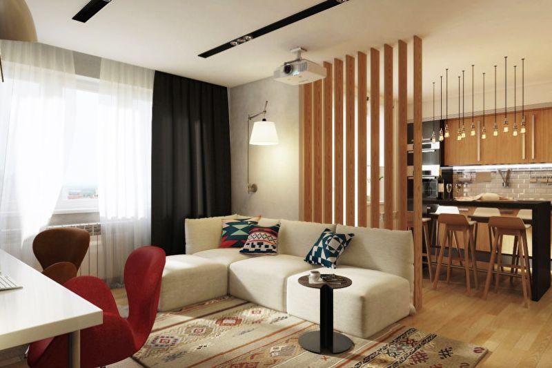зонирование однокомнатной квартиры фото идеи