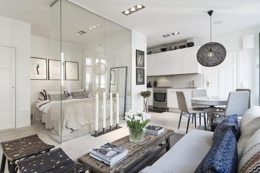 зонирование однокомнатной квартиры интересные варианты