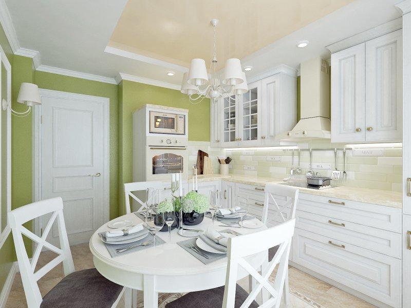 кухня оформленная в бело-оливковый цвет