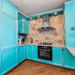 бирюзово-голубая кухня