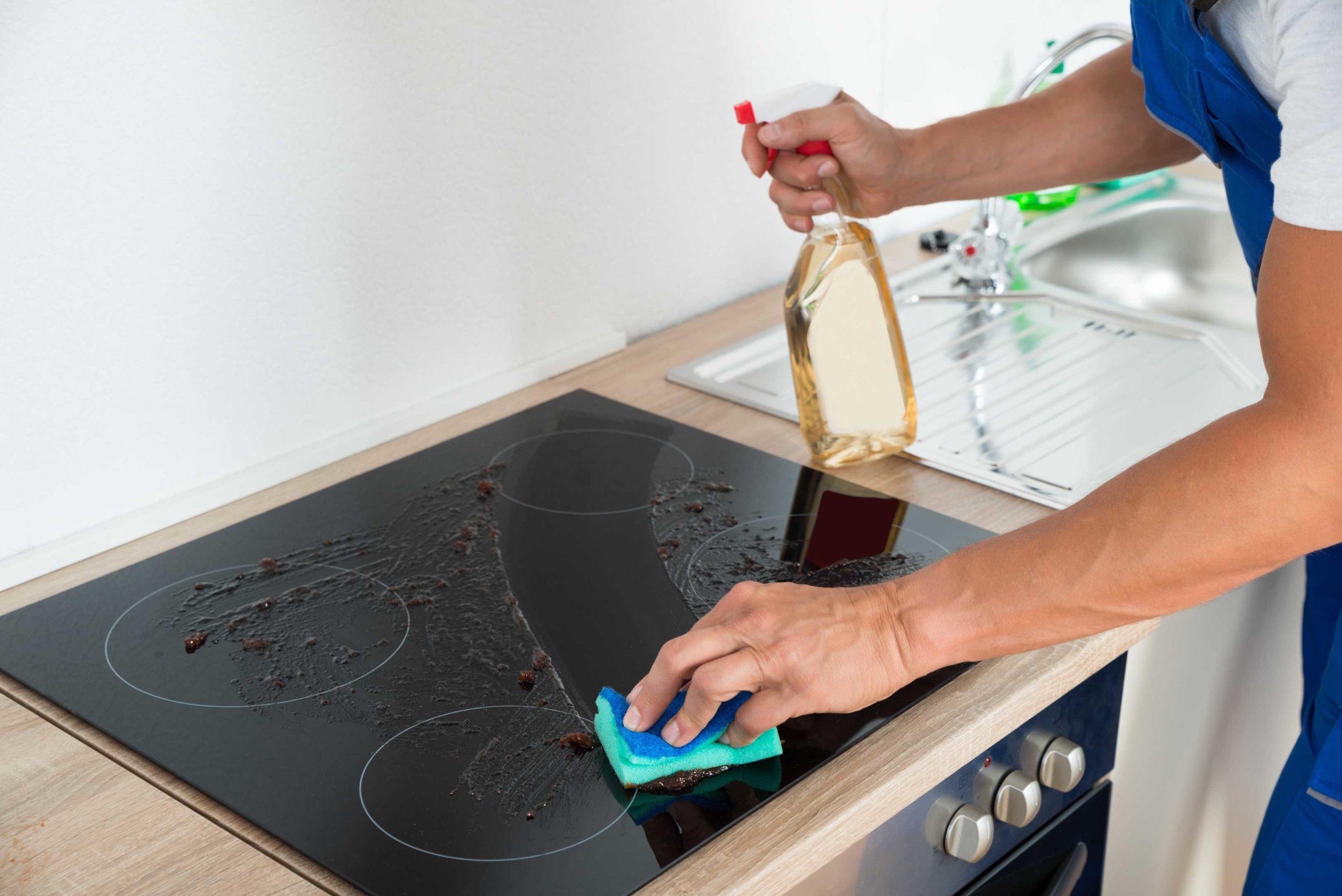 чистка плиты оливковым маслом