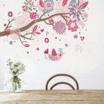 дерево на стене в розовых тонах