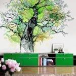 красивый рисунок дерева на стене