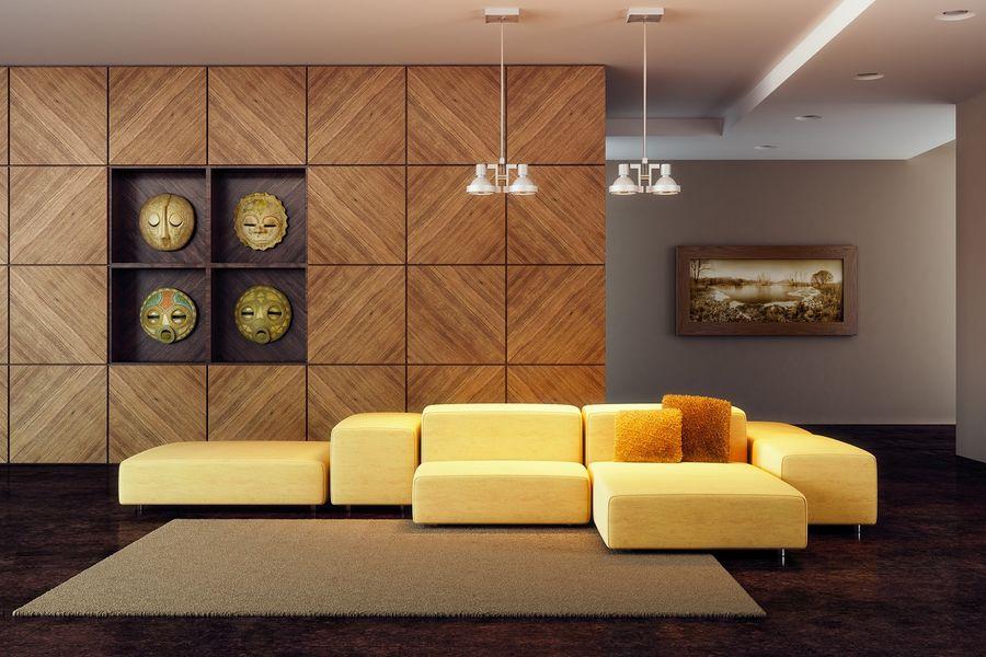 плитка из дерева в зале