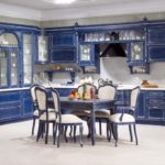 дизайнерская синяя кухня