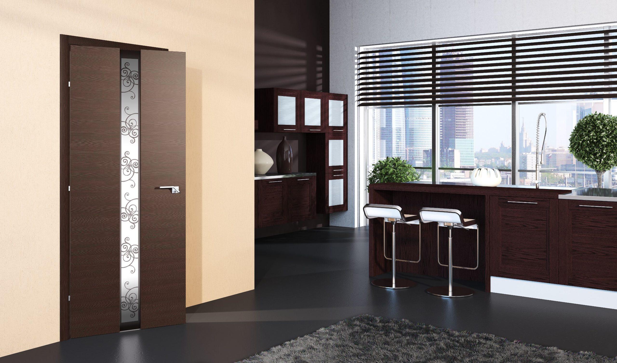 двери на кухне коричневого цвета