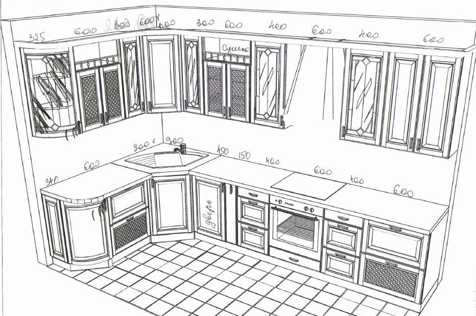 примерный эскиз мятной кухни