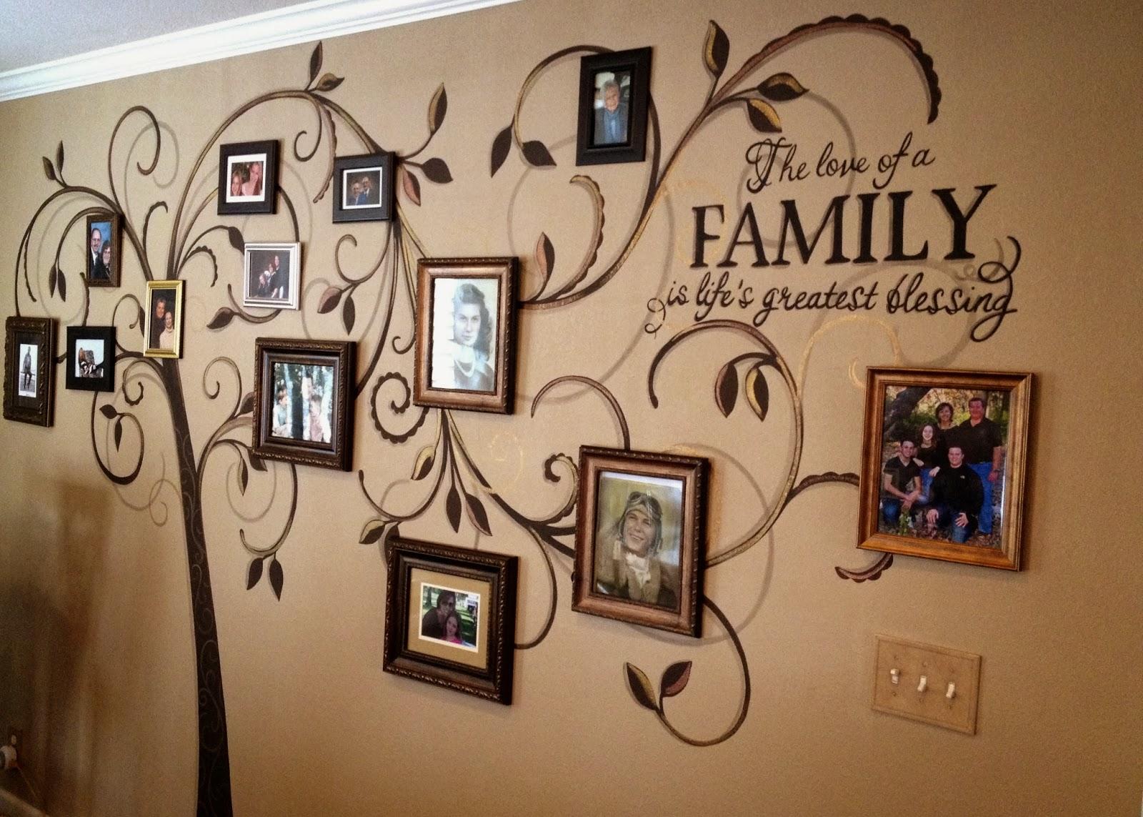 генеалогическое древо из фотографий на стене добровольного