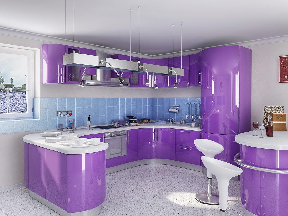 фиолетовая с голубым кухня