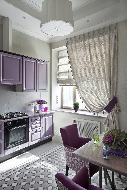 серо-фиолетовый дизайн кухни