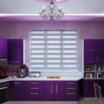фиолетовая кухня с большим окном