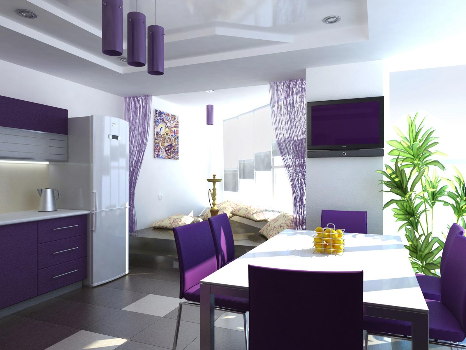 сдержанный дизайн фиолетовой кухни