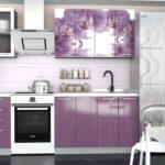 фиолетовая кухня с расписными шкафами
