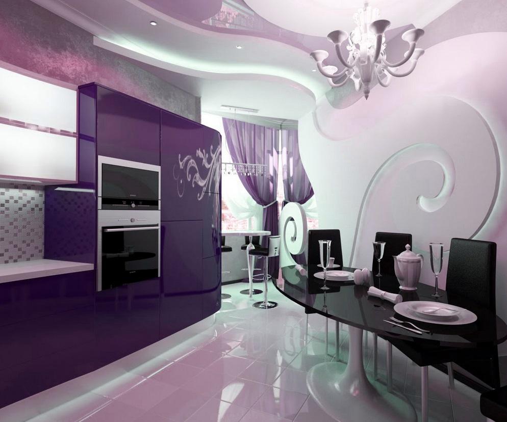 фиолетовый дизайн кухни с белым
