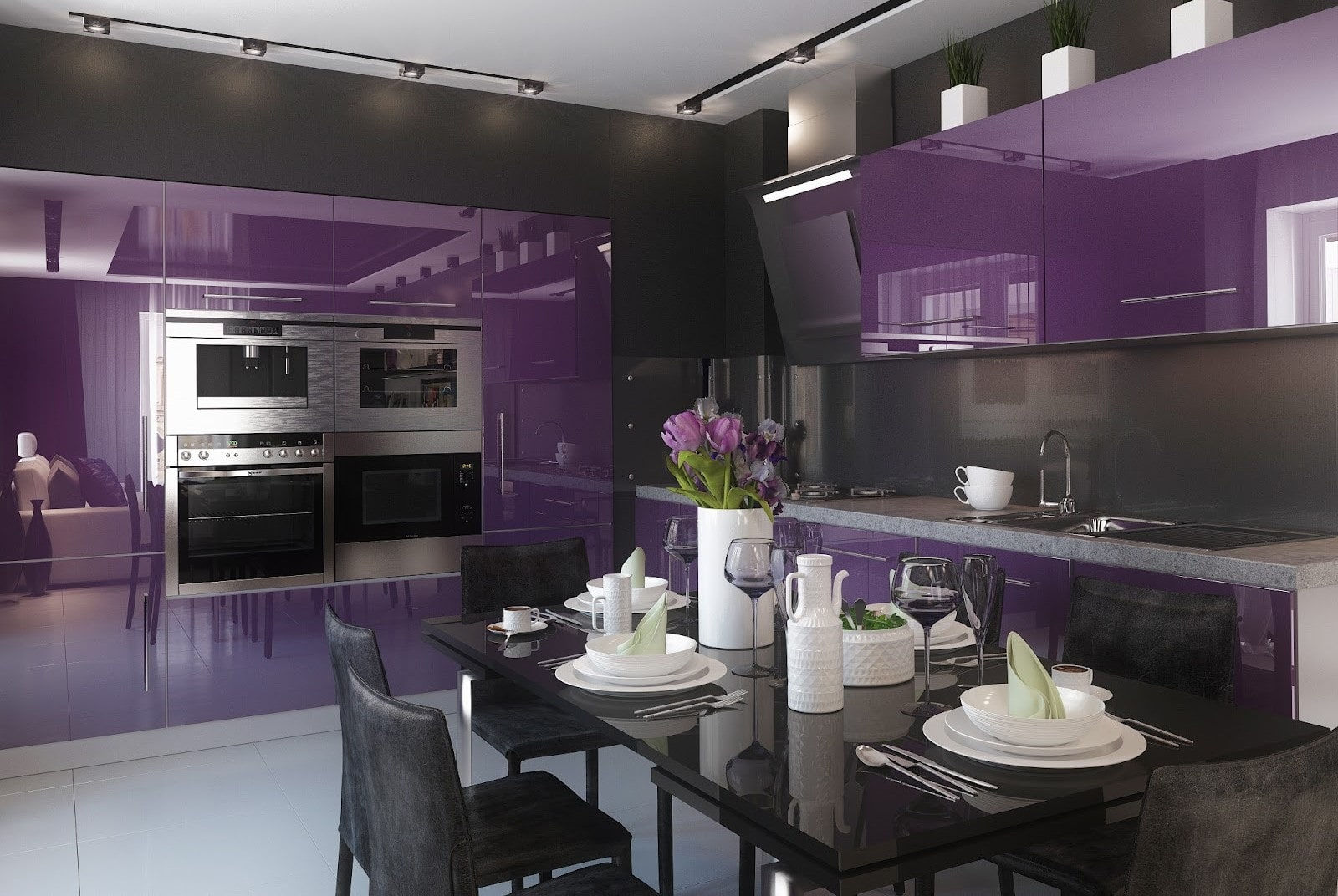 фиолетовая с черным кухня