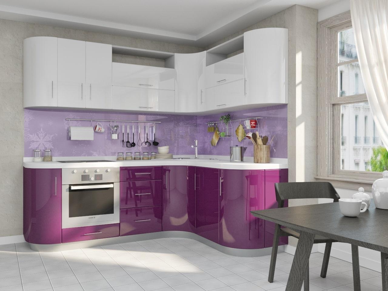 фиолетовая кухня с лиловым