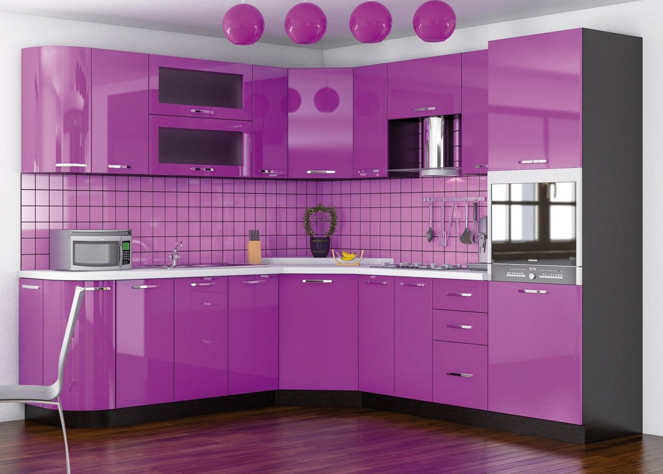полностью пурпурный дизайн кухни