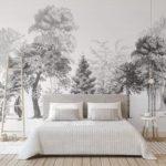 фотообои в спальню с лесным пейзажем