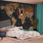 фотообои в спальню с географической картой