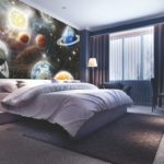 фотообои в спальню с тематикой космоса