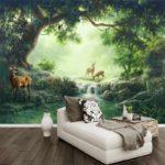 фотообои в спальню с лесными оленями