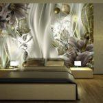фотообои в спальню с лилиями