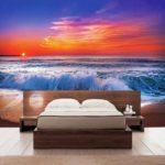 фотообои в спальню с ярким закатом