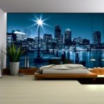 фотообои в спальню с городом ночью