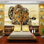 фотообои в спальню с голубоглазым тигром