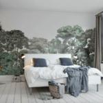 фотообои в спальню с лесными деревьями